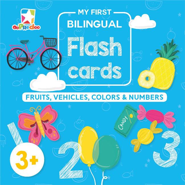 OPREDO MY FIRST BILINGUAL FLASH CARDS: FRUITS, VEHICLES, COLORS  DAN  NUMBERSen